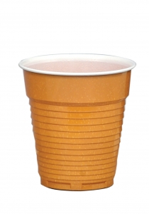 Plastic cups, Italian, ribbed, brown