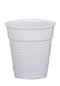Plastic cups, Italian, ribbed, white